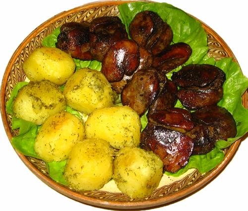 Cartofi aromati cu ficatei de pui