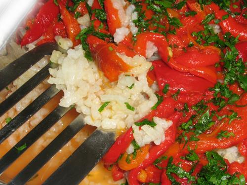 Salata de orez cu ardei copt